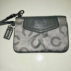 Coach silver and gray wristlet